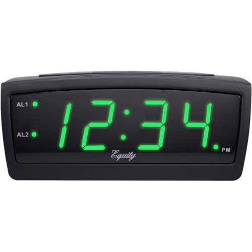 "Equity by La Crosse Green LED 0.9"" Digital Alarm Clock"