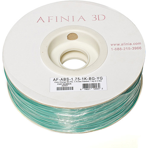 AFINIA Value-Line ABS Filament for 3D Printers, Color-Changing (Blue-Green to Yellow-Green)