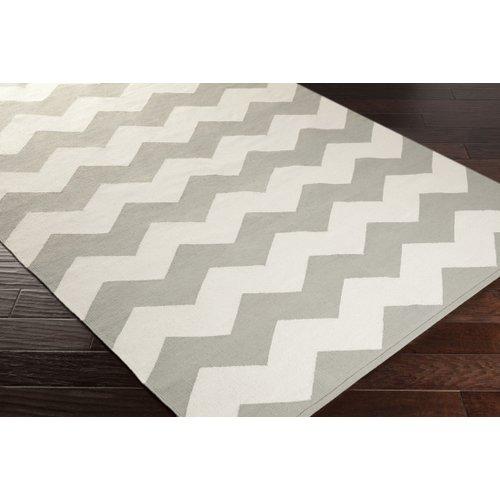 Ebern Designs Murguia Grey & White Chevron Area Rug