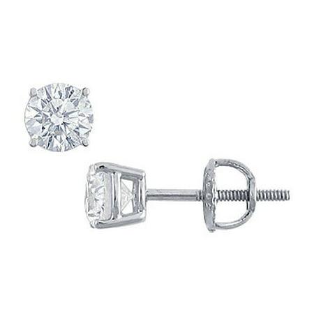 Platinum Round Diamond Stud Earrings 0.75 CT. TW.