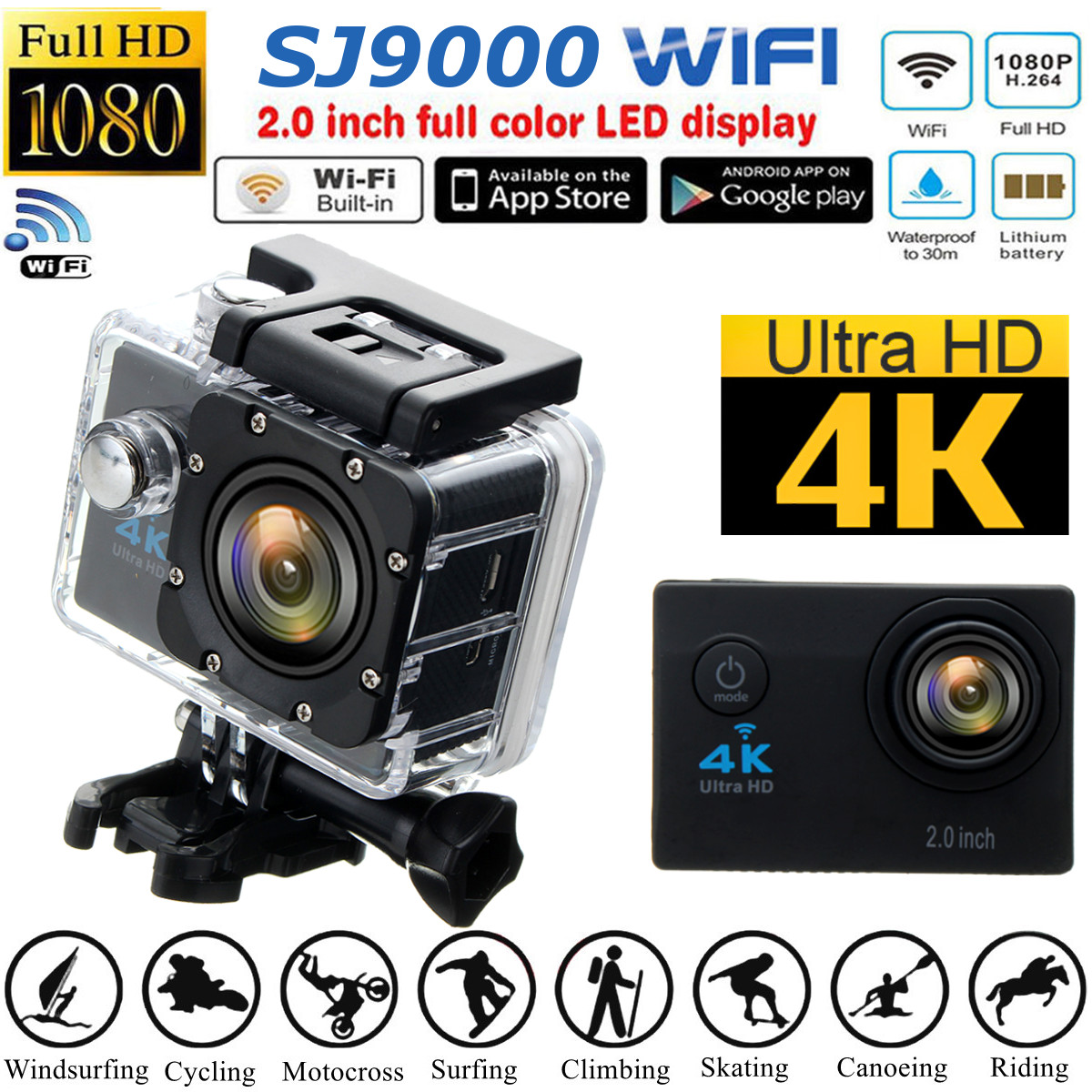 "SJ9000 4K Ultra 2"" Sports & Outdoors LCD Screen Waterproof Sport Action Camera Sport Camcorders DV 1080P HD Cam DVR"