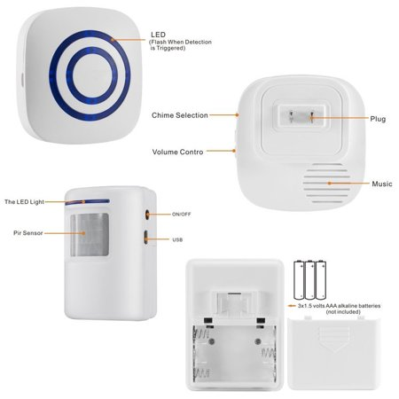 Bangde Home Security Alarm and Wireless Welcome Alert Door Bell: Infrared  Motion Sensor Alarm Chime with LED -38 Chime Tunes ( 1 Receiver and 1
