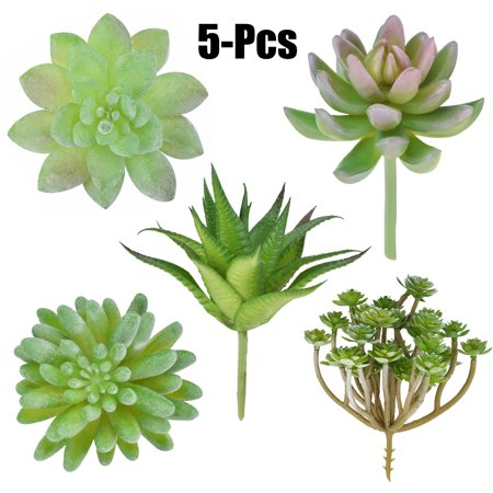 5PCS Artificial Succulent, Justdolife Fashionable Faux Plant Unpotted Succulent Stems for DIY Home Indoor Garden Outdoor Decor ()