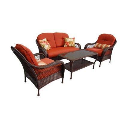 Better Homes and Gardens Azalea Ridge Hand Woven All Weather Wicker 4-Piece Patio Conversation Set, Seats 4