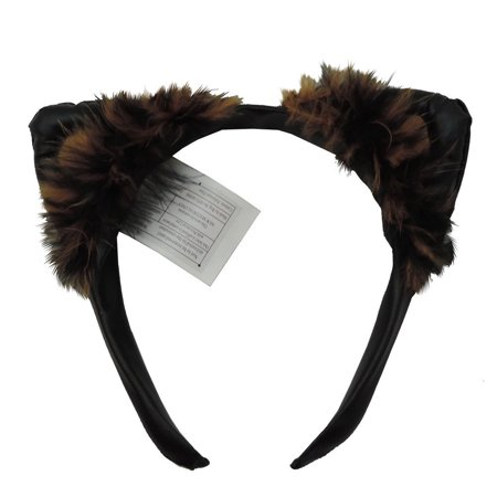 Cat Ears Faux Leather Feathered Costume Headband (White Cat Ears Costume)