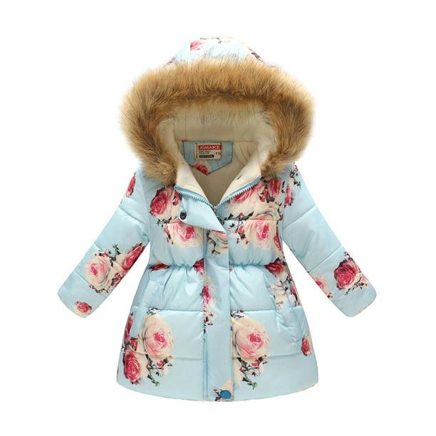 Kid S Girls Boys Hooded Warm Padded, Black Coat With Fur Hood Children S
