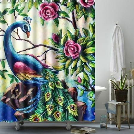 Peacock Shower Curtain Polyester Fabric 12 Hooks Home Decor Christmas Gift Waterproof Bathroom Set 150X180cm