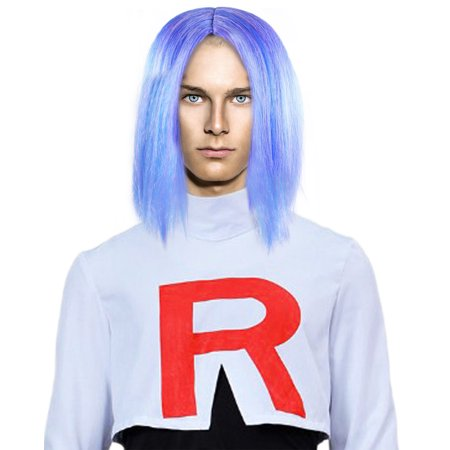 Pokémon James Wig Team Rocket Cosplay Costume Party Halloween Periwinkle Blue Anime Hairpiece](Wigs Anime)