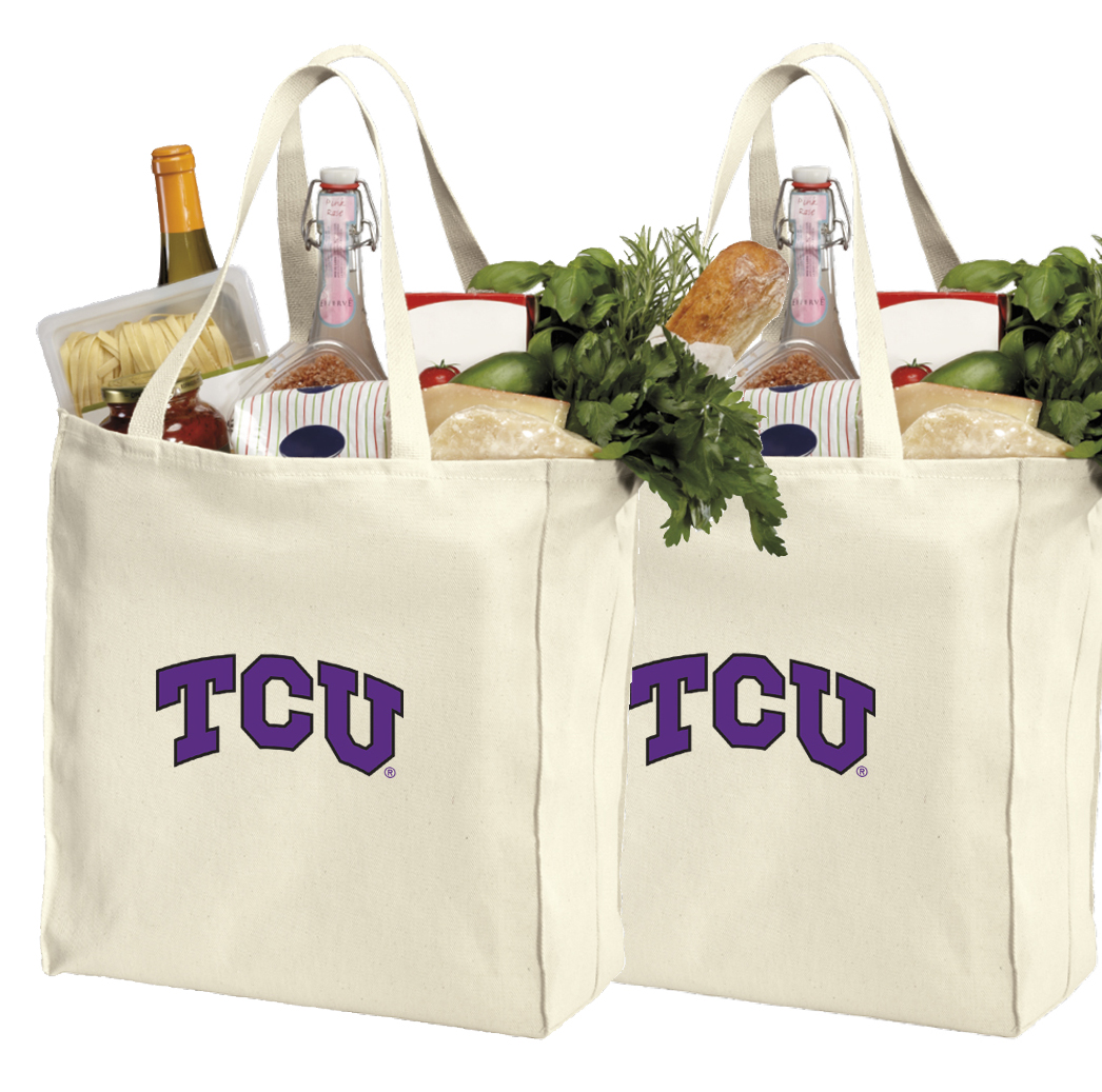 Texas Christian Shopping Bags or Cotton TCU Grocery Bags - 2 Pc Set