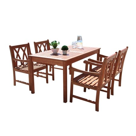 Malibu Outdoor 5-piece Wood Patio Dining Set ()