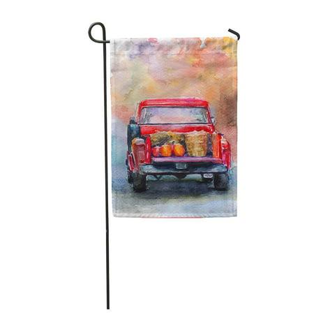 KDAGR Colorful Truck Autumn Harvest Red Car Pumpkin Watercolor Auto Garden Flag Decorative Flag House Banner 12x18 inch