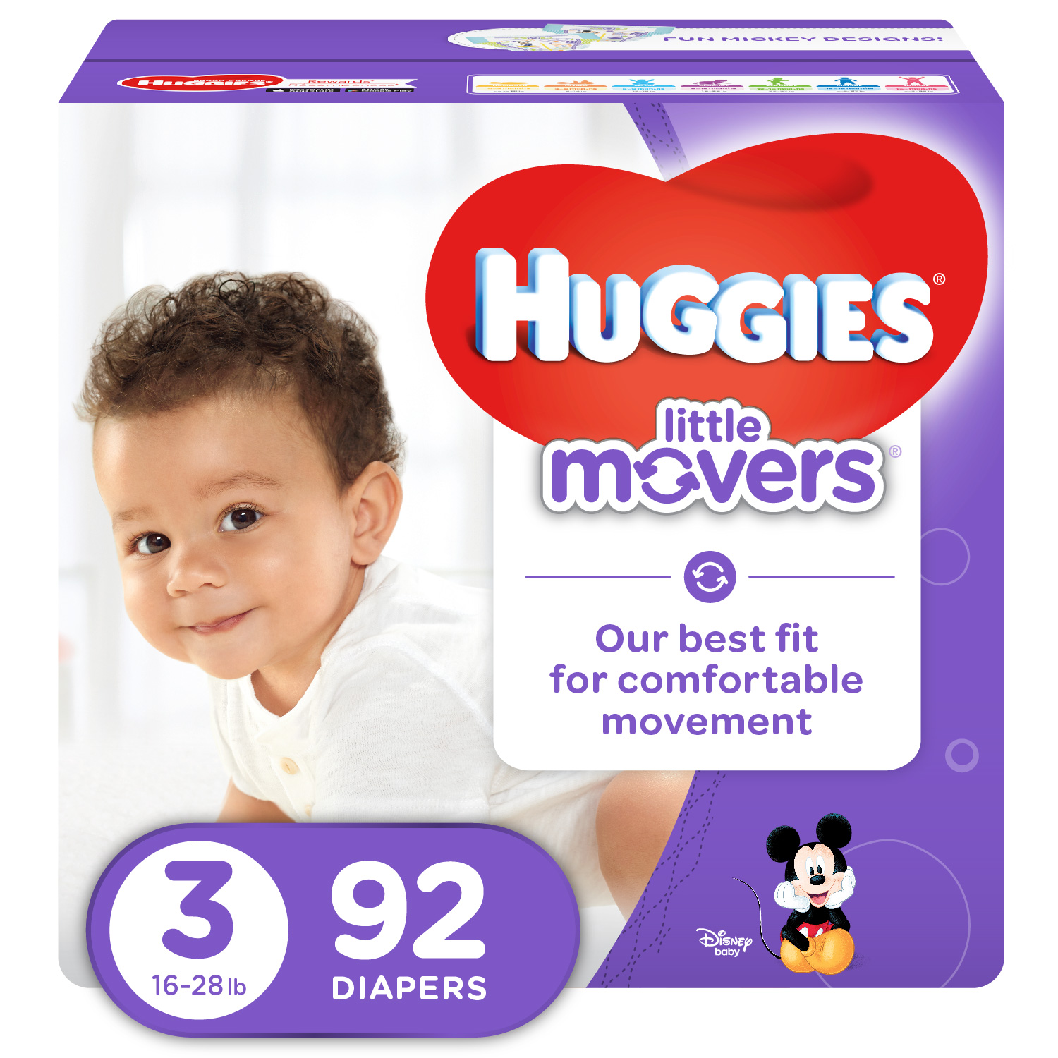 16-28lbs *Free 2 day shipping HUGGIES Little Movers Disposable Diapers Size 3
