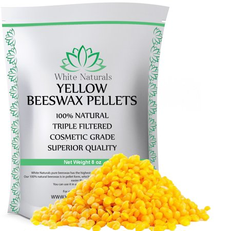 Beeswax Pellets 8 oz, Yellow, Pure, Natural, Cosmetic Grade, Bees Wax Pastilles, Triple Filtered, Great For DIY Projects, Lip Balms, Lotions, Candles By White Naturals…