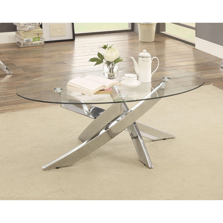 Furniture Of America Propel Modern Glass Top Chrome Oval Coffee Table Walmart Com Walmart Com