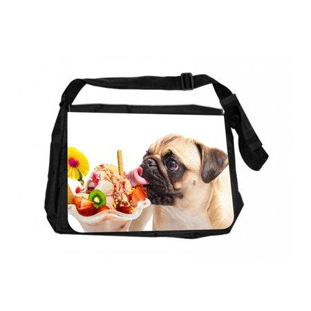 Pug Licking An Ice Cream Sundae Large Black School Shoulder Messenger Bag & Pencil Case - Halloween Ice Cream Sundae Bar