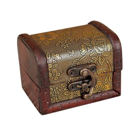 Decorative Storage Box - Decorative Trinket Jewelry Storage Box Handmade Vintage Wooden Treasure Case
