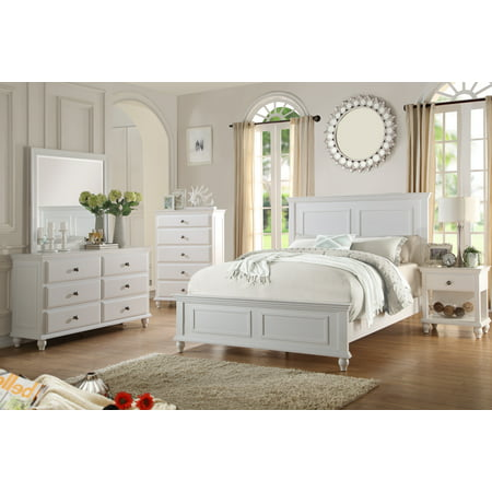Country Living Bedroom Furniture Classic White Color 4pc Set Queen Size Bed Dresser Mirror Nightstand ()