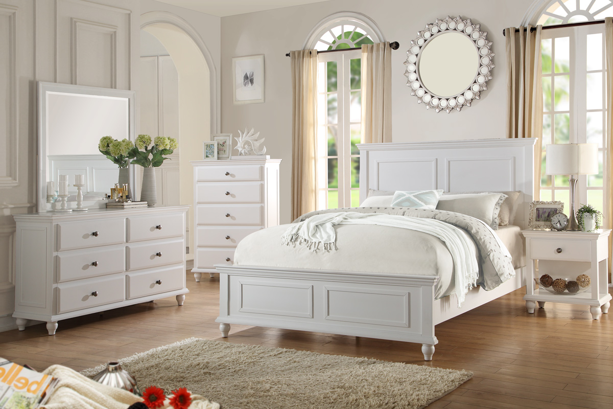 Beau Country Living Bedroom Furniture Classic White Color 4pc Set Queen Size Bed  Dresser Mirror Nightstand