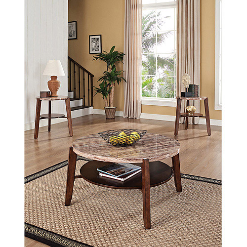 Nadav Round Faux Marble 3 Piece Coffee and End Table Set, Brown