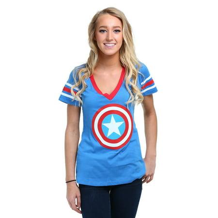 Womens Captain America Logo T-Shirt - Captain America T Shirt Womens