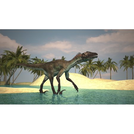 Utahraptor Walking Across A Riverbed Canvas Art   Kostyantyn Ivanyshenstocktrek Images  19 X 11