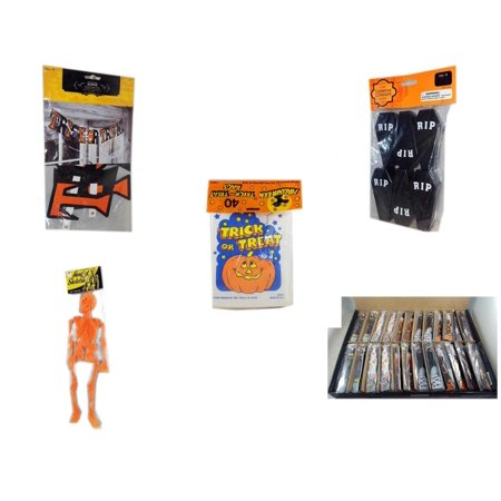 Halloween Fun Gift Bundle [5 Piece] - Trick or Treat Banner 42.5 x 5 Inches - Tombstone Containers Party Favors 6 Count -  Trick or Treat Bags 40/ct - Hanging Skeleton Orange - Large Box  Wooden Cra