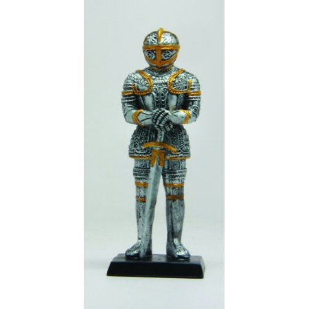 4 Inch Small Armored Medieval Knight with Sword Statue Figurine