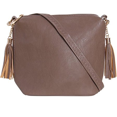 aa44d3379395 Humble Chic NY - Mini Tassel Cross Body Bag - Small Vegan Leather Zipper  Crossbody Handbag Shoulder Purse
