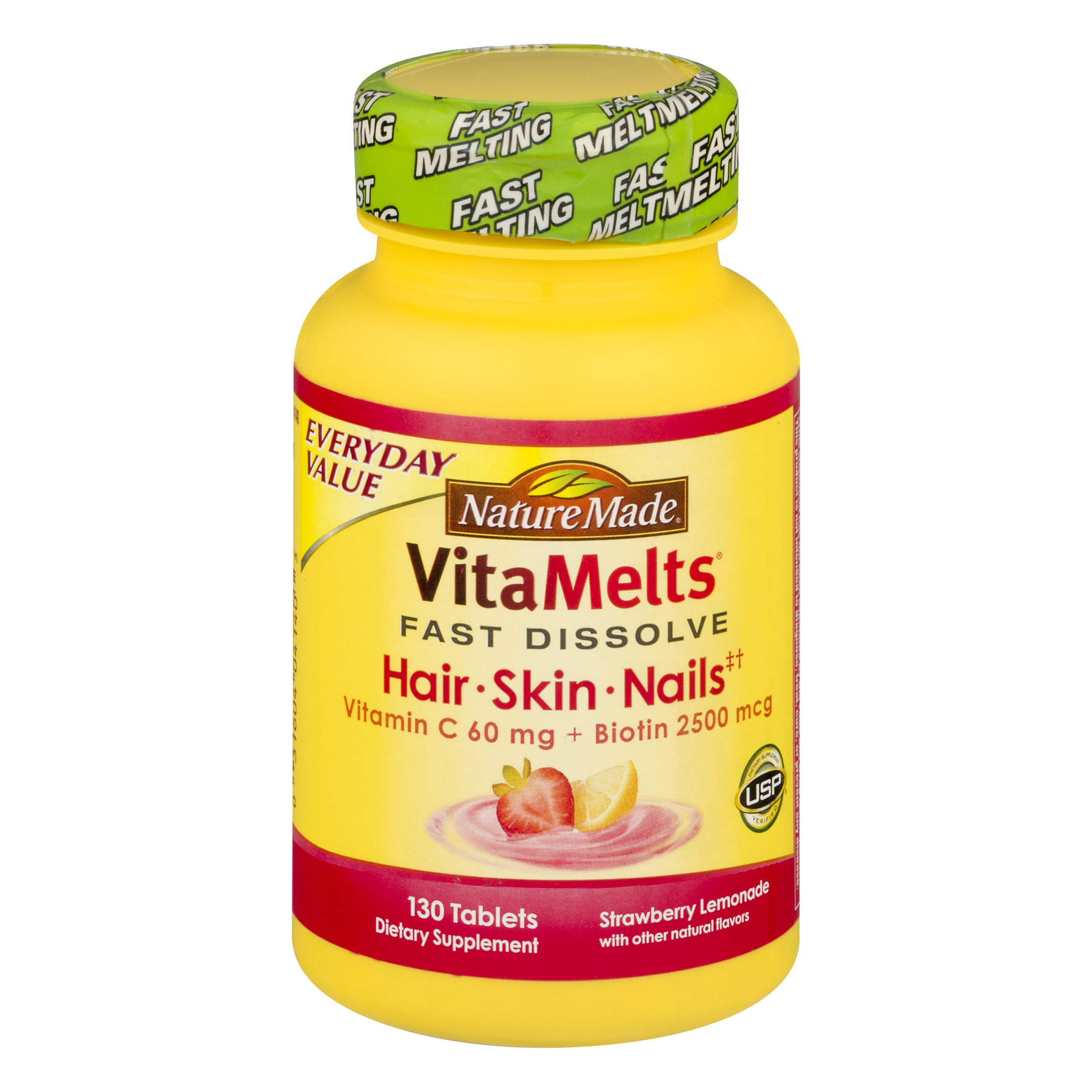 Nature Made VitaMelts Hair, Skin & Nails Fast Dissolve Tablets, 130 Ct