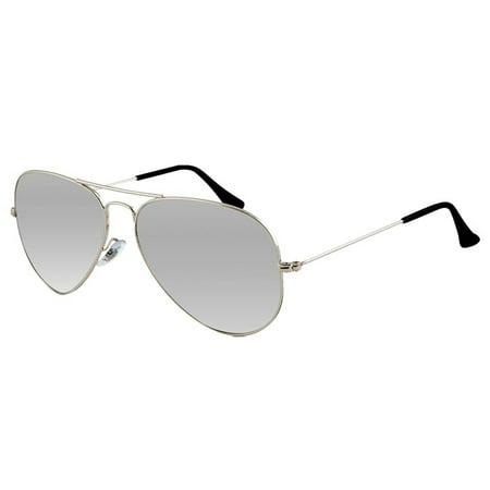 Large Pilot Sunglasses Silver Mirror Lens Mens Womens Vintage Frame Retro Shades Silver Frame Platinum Mirror Lens