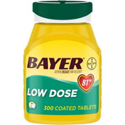 Aspirin Regimen Bayer Low Dose Pain Reliever Enteric Coated Tablets, 81mg, 300 Ct