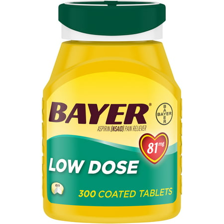 Aspirin Regimen Bayer Low Dose Pain Reliever Enteric Coated Tablets, 81mg, 300