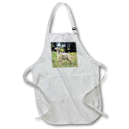 3dRose English Setter - Full Length Apron, 24 by 30-inch, White, With Pockets