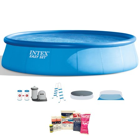 Intex 18 x 4 Foot Inflatable Easy Set Pool w/ Ladder, Pump, & Maintenance Kit