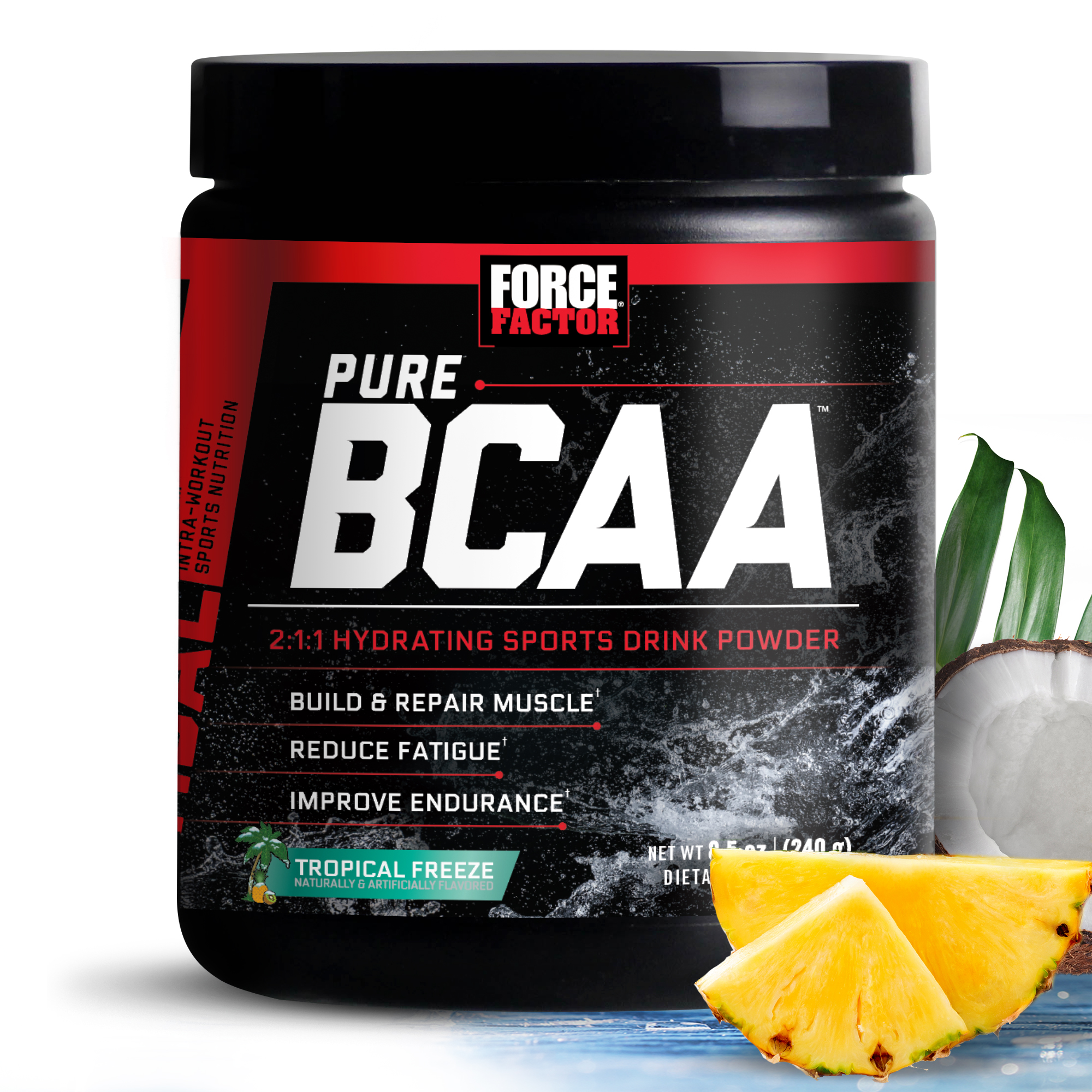 Force Factor Pure BCAA Powder, Tropical Freeze, 30 Servings