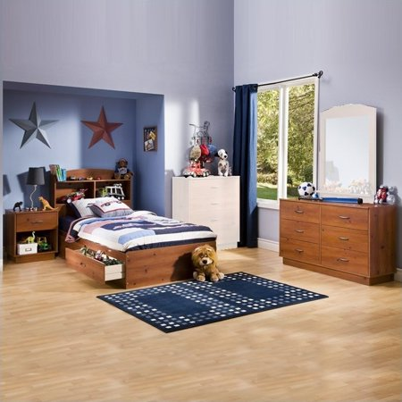South shore logik kids sunny pine twin wood storage bed 4 - South shore 4 piece bedroom furniture set ...