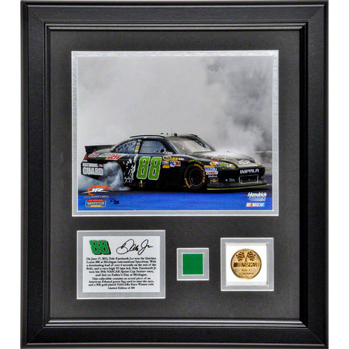 Dale Earnhardt Jr. Framed 8x10 Photograph   Details: 2012 Quicken Loans 400, with Gold Coin and Race-Used Flag Piece-L.E. of 188