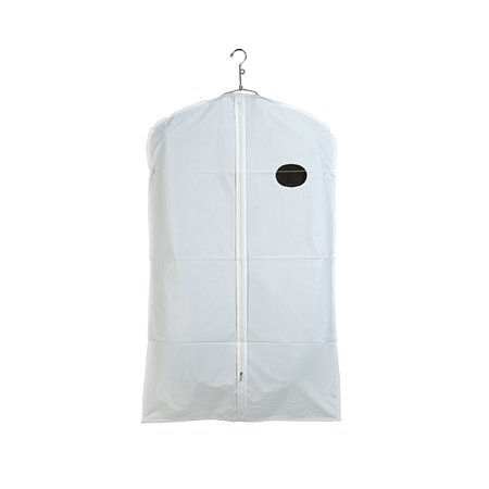 40 in. L x 24 in. W White Vinyl Zippered Suit Cover With White Trim and Oval Window (Pack of 100) ()