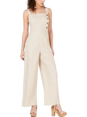 Fish Bowl Womens Juniors Button Front Sleeveless Jumpsuit Beige 1