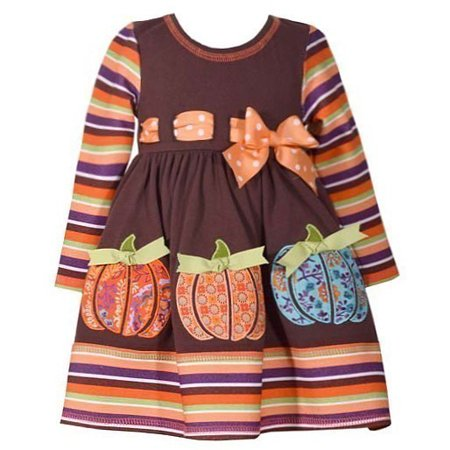 Bonnie Jean Baby Girls Brown Orange Stripe Polka Dot Belted Dress 12M