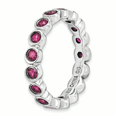Sterling Silver Stackable Expressions Created Ruby Ring Size 7 - image 2 of 3