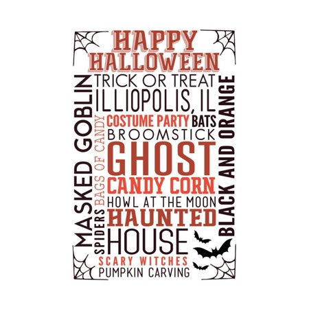 Illiopolis, IL - Happy Halloween - Typography with Bats Print Wall Art By Lantern Press](Bat Halloween Clip Art)