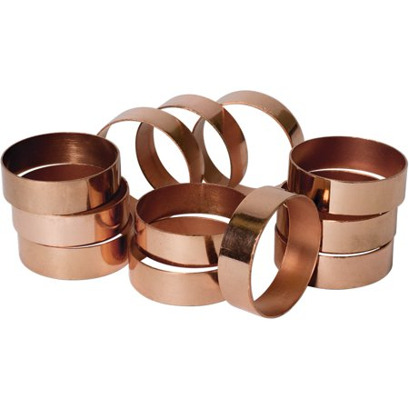 Napkin Rings Wholesale (Koyal Wholesale Copper Napkin Ring Metal Bands, Bulk Set of 12, for Wedding Reception,Holiday)