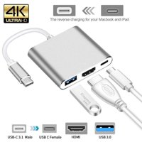 USB Type C Hub HDMI 4K Adapter USB-C to Converter with 3.0 USB and 3.1 Charging Port for Retina MacBook Gold