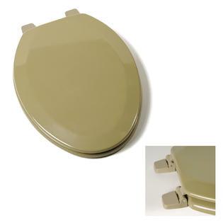 Avocado Green Elongated Wood Toilet Seat
