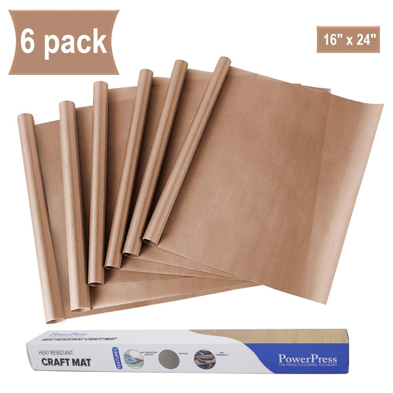PowerPress 6 Pack Teflon Sheet for Heat Press Transfer Sheet Non Stick 16/'/' x...