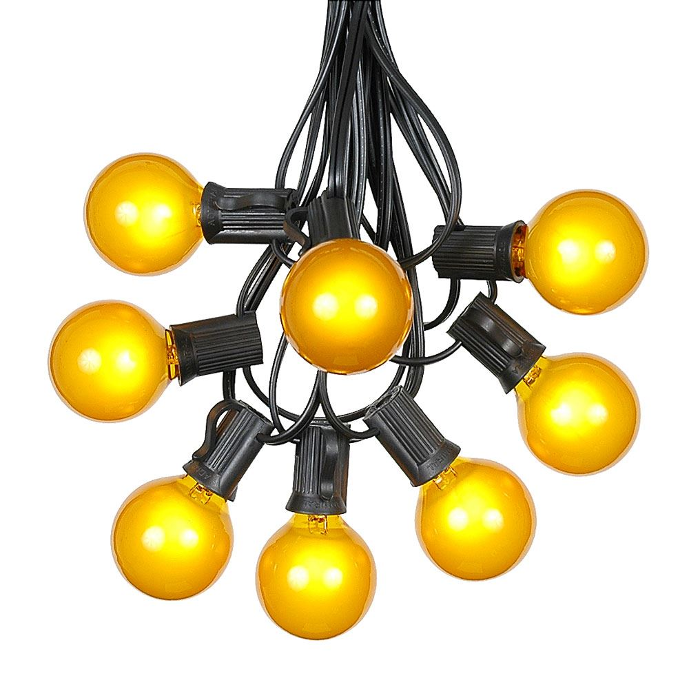 G40 Patio String Lights with 125 Clear Globe Bulbs – Outdoor String Lights – Market Bistro Café Hanging String Lights – Patio Garden Umbrella Globe Lights - Black Wire - 100 Feet