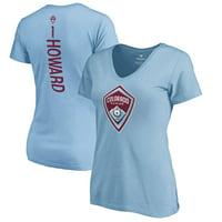 Tim Howard Colorado Rapids Fanatics Branded Women's Backer Name & Number V-Neck T-Shirt - Light Blue
