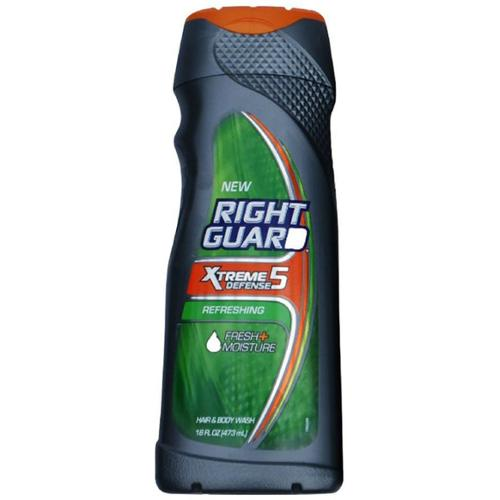 Right Guard Xtreme Defense 5 Hair & Body Wash, Refreshing 16 oz (Pack of 6)