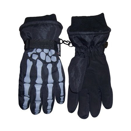 NICE CAPS Boys Skeleton Print Waterproof and Thinsulate Insulated Reflector Snow Winter Ski Skiing Glove - Fits Kids Toddler Youth Childrens Child Sizes For Cold Weather Adidas Field Players Gloves
